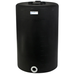 "65 Gallon Tamco® Vertical Black PE Tank with 8"" Lid & 2"" Fitting - 24"" Dia. x 38"" High"