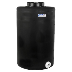 """65 Gallon Tamco® Vertical Black PE Tank with 12-1/2"""" Lid & 2"""" Fitting - 24"""" Dia. x 39"""" High"""