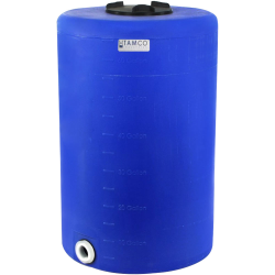 "65 Gallon Tamco® Vertical Blue PE Tank with 8"" Lid & 2"" Fitting - 24"" Dia. x 38"" High"