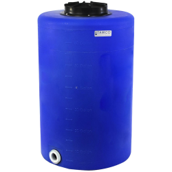 "65 Gallon Tamco® Vertical Blue PE Tank with 12-1/2"" Lid & 2"" Fitting - 24"" Dia. x 39"" High"
