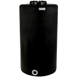 "75 Gallon Tamco® Vertical Black PE Tank with 12-1/2"" Lid & 2"" Fitting - 24"" Dia. x 45"" High"