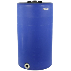 "75 Gallon Tamco® Vertical Blue PE Tank with 8"" Lid & 2"" Fitting - 24"" Dia. x 44"" High"