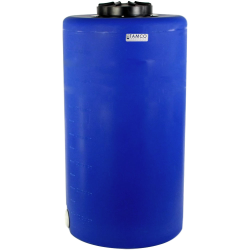 "75 Gallon Tamco® Vertical Blue PE Tank with 12-1/2"" Lid & 2"" Fitting - 24"" Dia. x 45"" High"