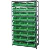 "Magnum Bin Unit with 10 Shelves & 27 Green Bins 19-3/4""L x 12-3/8""W x 5-7/8""H"
