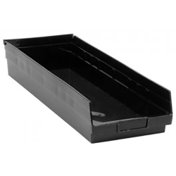 "Black Quantum® High Recycled Shelf Bin - 23-5/8"" L x 8-3/8"" W x 4"" Hgt."