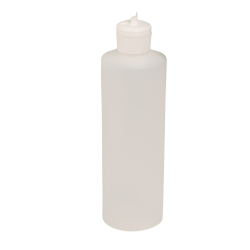 16 oz. Translucent Cylindrical Sample Bottle with 28/410 Flip-Top Cap