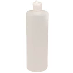 32 oz. Translucent Cylindrical Sample Bottle with 28/410 Flip-Top Cap