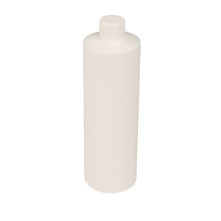 16 oz. White HDPE Cylindrical Sample Bottle with 28/410 Plain Cap