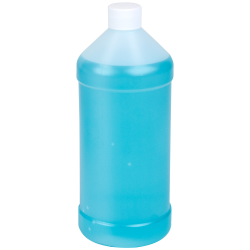 32 oz. Natural HDPE Modern Round Bottle with 28/410 Plain Cap