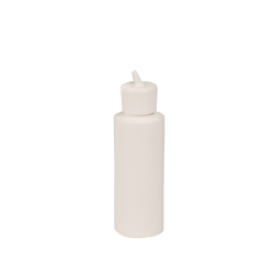 4 oz. White HDPE Cylindrical Sample Bottle with 24/410 Flip-Top Cap