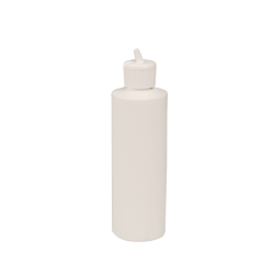8 oz. White Cylindrical Sample Bottle with 24/410 Flip Top Cap