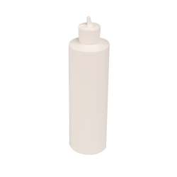 12 oz. White HDPE Cylindrical Sample Bottle with 24/410 Flip-Top Cap