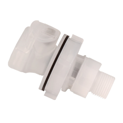 "3/8"" MNPT CQH Series Polypropylene Panel Mount Coupling Body - Shutoff (Insert Sold Separately)"