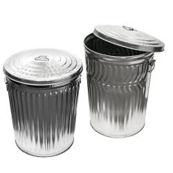 Galvanized Steel Trash Cans & Lids