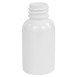 1 oz. White PET Squat Boston Round Bottle with 20/410 Neck (Cap Sold Separately)