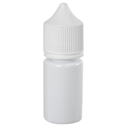 30mL Opaque White PET Stubby Unicorn Bottle with White CRC/TE Cap