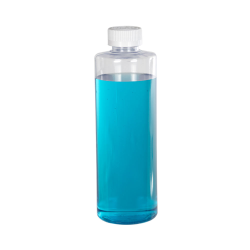 16 oz. Clear PVC Cylindrical Bottle with 28/410 White CRC Cap