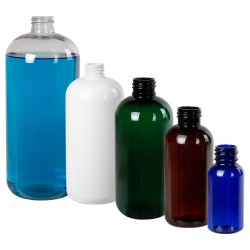 8 oz. Cobalt Blue PET Traditional Boston Round Bottle with 24/410 Neck (Cap Sold Separately)