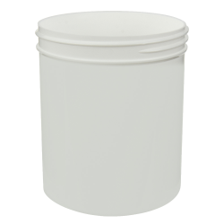 18 oz. White Polypropylene Straight Sided Jar with 89/400 Neck