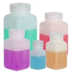 Thermo Scientific™ Nalgene™ Wide Mouth Polyethylene Square Bottles with Caps