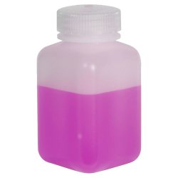 8 oz./250mL Nalgene™ Wide Mouth Polyethylene Square Bottle with 43mm Cap