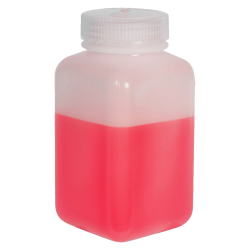16 oz./500mL Nalgene™ Wide Mouth Polyethylene Square Bottle with 53mm Cap