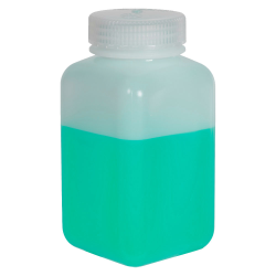 32 oz./1000mL Nalgene™ Wide Mouth Polyethylene Square Bottle with 63mm Cap
