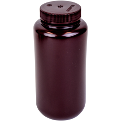 32 oz./1000mL Nalgene™ Lab Quality Amber HDPE Wide Mouth Bottle with 63mm Cap