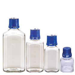 PET Square Sterile Media Bottles with Caps
