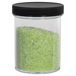8 oz. Clear Polystyrene Straight Sided Jar with Black 70/400 Cap