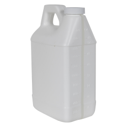 64 oz. White F-Style Jug with Window Strip & 38/400 Plain Cap with F217 Liner
