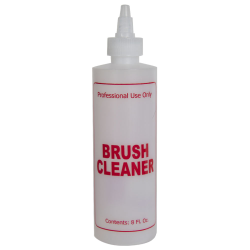 "8 oz. Natural HDPE Cylinder Bottle with 24/410 Twist Open/Close Cap & Red ""Brush Cleaner"" Embossed"