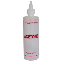 "8 oz. Natural HDPE Cylinder Bottle with 24/410 Twist Open/Close Cap & Red ""Acetone"" Embossed"