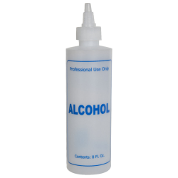 "8 oz. Natural HDPE Cylinder Bottle with 24/410 Twist Open/Close Cap & Blue ""Alcohol"" Embossed"