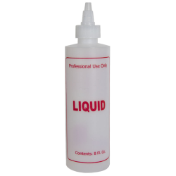 "8 oz. Natural HDPE Cylinder Bottle with 24/410 Twist Open/Close Cap & Red ""Liquid"" Embossed"