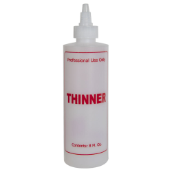 "8 oz. Natural HDPE Cylinder Bottle with 24/410 Twist Open/Close Cap & Red ""Thinner"" Embossed"