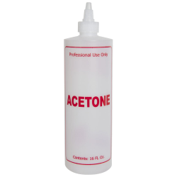 "16 oz. Natural HDPE Cylinder Bottle with 24/410 Twist Open/Close Cap & Red ""Acetone"" Embossed"