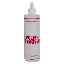"16 oz. Natural HDPE Cylinder Bottle with 24/410 Twist Open/Close Cap & Red ""Polish Remover"" Embossed"