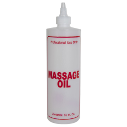 "16 oz. Natural HDPE Cylinder Bottle with 24/410 Twist Open/Close Cap & Red ""Massage Oil"" Embossed"