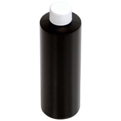 8 oz. Black HDPE Cylindrical Bottle with 24/410 Plain Cap