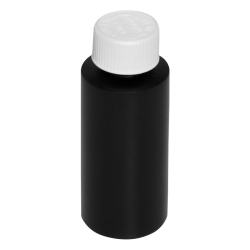 2 oz. Black HDPE Cylindrical Bottle with 20/410 CRC Cap