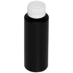 4 oz. Black HDPE Cylindrical Bottle with 24/410 CRC Cap