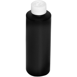 8 oz. Black HDPE Cylindrical Bottle with 24/410 CRC Cap with F217 Liner