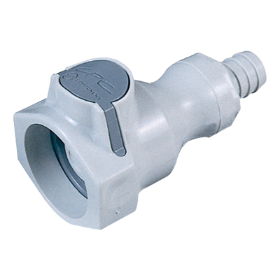 "3/8"" In-Line Hose Barb UDC Polypropylene Valved Coupling Body with EPDM O-ring"
