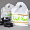 "16.5"" x 14"" + 6"" BG x 1.25 mil Printed ""Thank You"" Take Out Bags with Wave Top Handles"