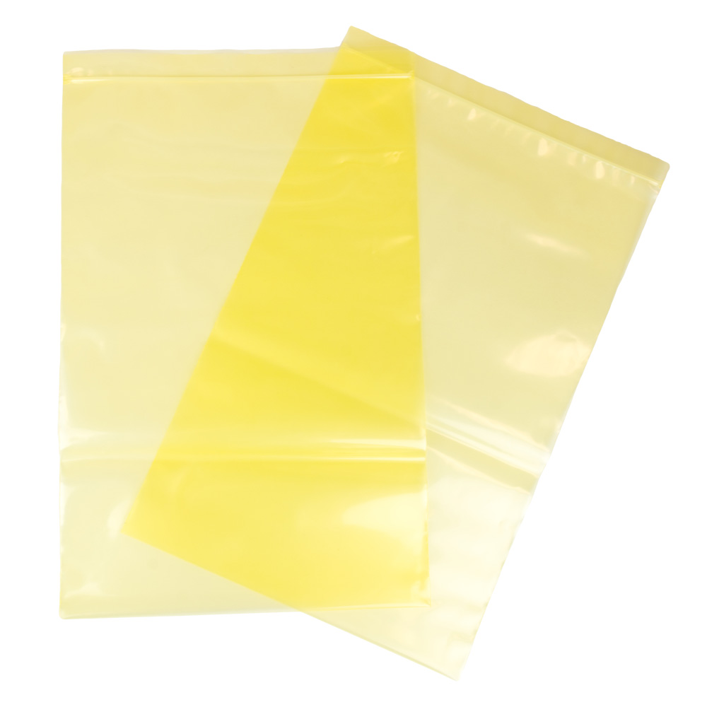 "12"" x 18"" x 4 mil Ferrous Yellow Zipper Bags"