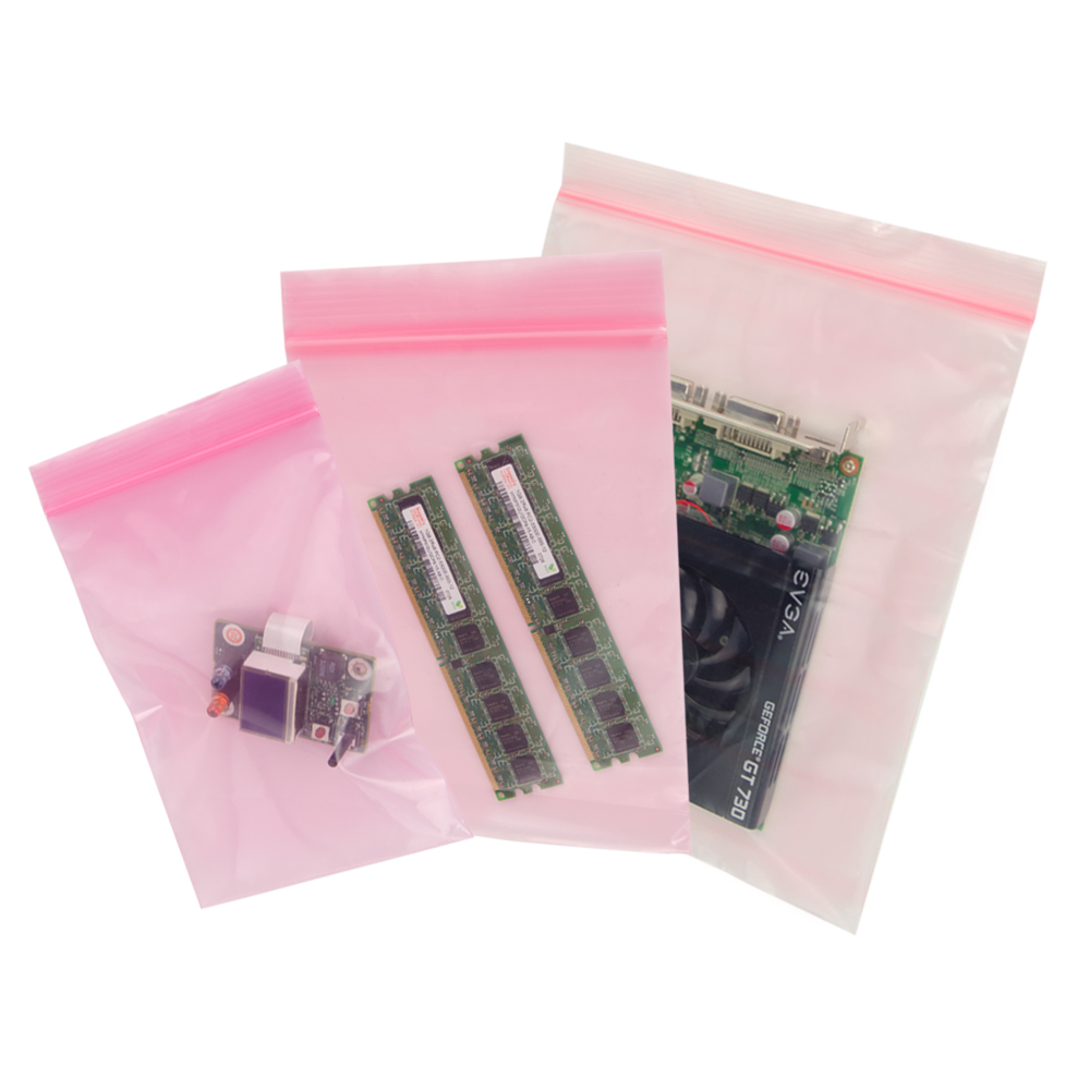 Reclosable Pink Anti-Static Economy Bags