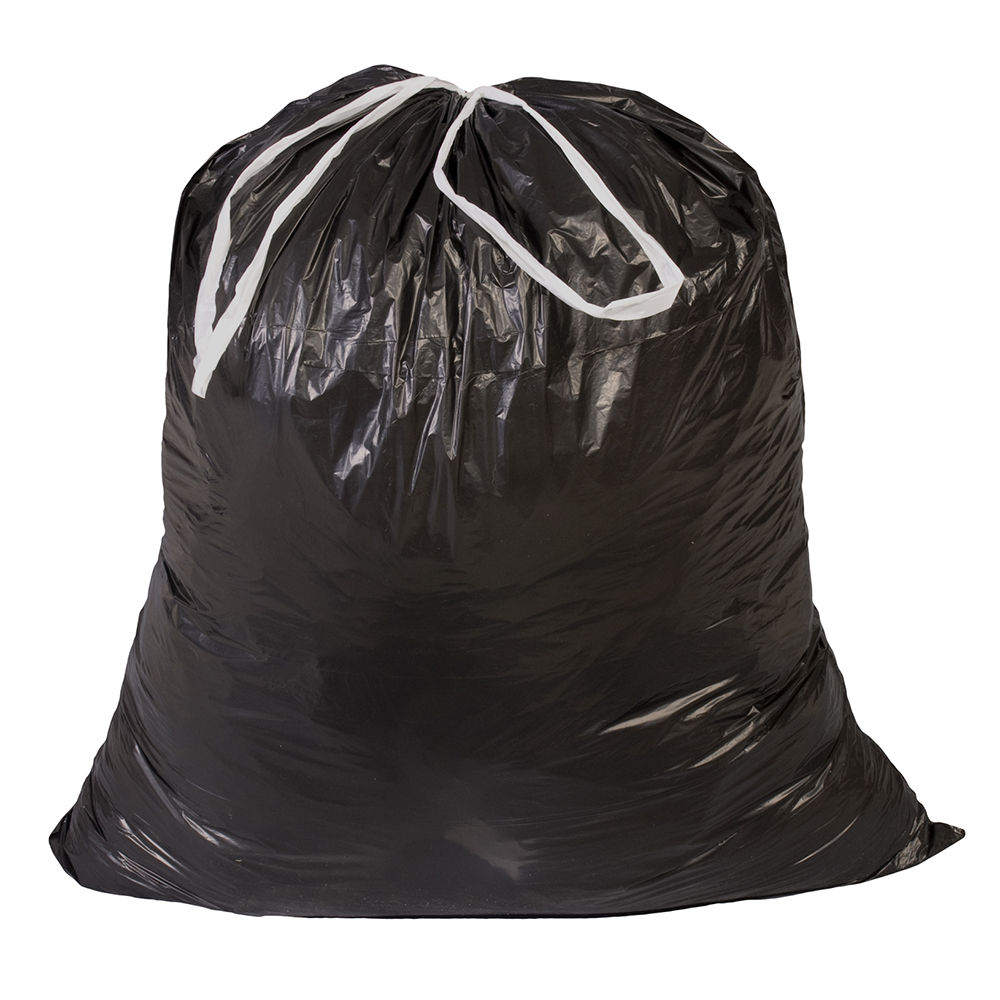 32 Gallon 0.8 mil Black Drawstring Liner