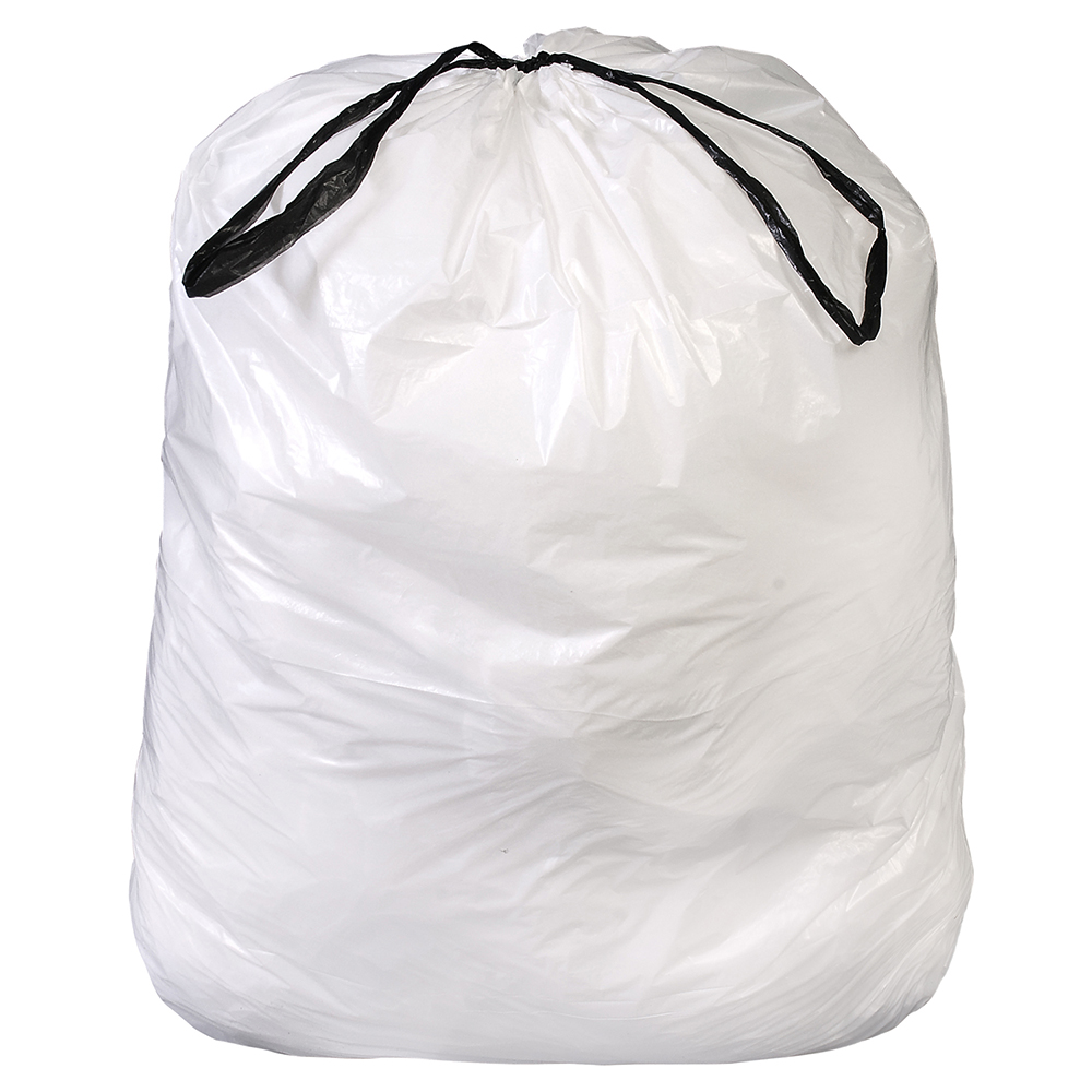 32 Gallon 0.8 mil White Drawstring Liner