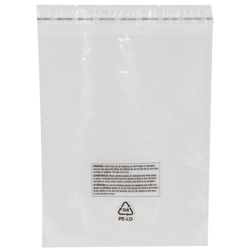 """16"""" x 24"""" + 1.5"""" Lip x 1.5 mil Resealable Lip & Tape LDPE Bags with Suffocation Warning - Vented"""